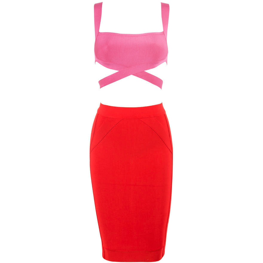 Red And Hot Pink Strap Two-Piece Skirt Set LAVELIQ - LAVELIQ - 3