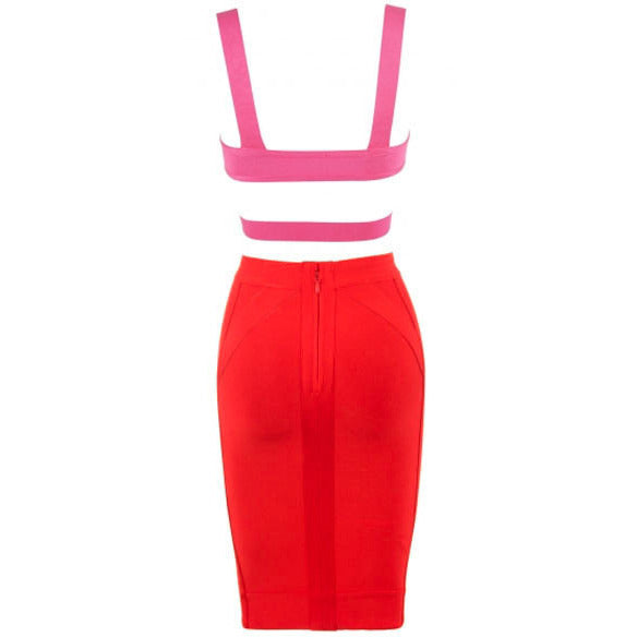 Red And Hot Pink Strap Two-Piece Skirt Set LAVELIQ - LAVELIQ - 4