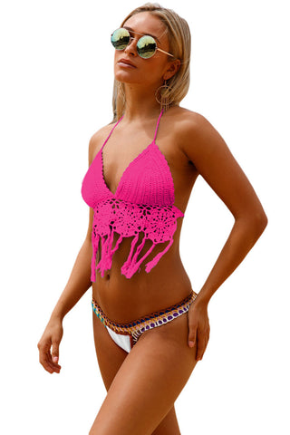 Rosy Crochet Bikini Top With Bottom LAVELIQ SALE