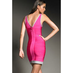 Rosy V Neck Sleeveless Bandage Dress LAVELIQ SALE - LAVELIQ - 3