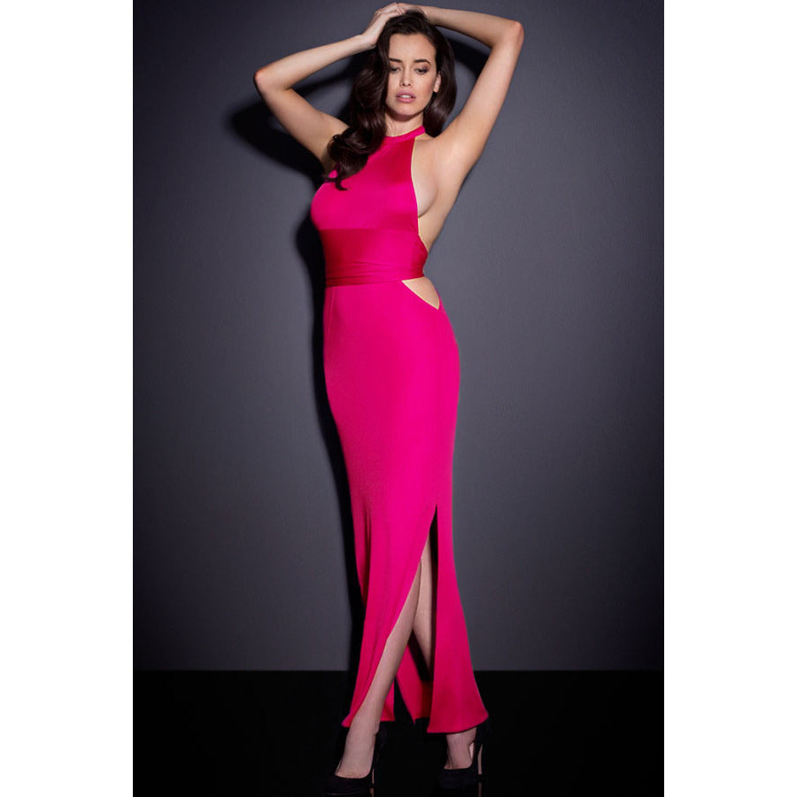 Rosy Sexy Neck Backless Jersey Maxi Dress LAVELIQ - LAVELIQ - 1