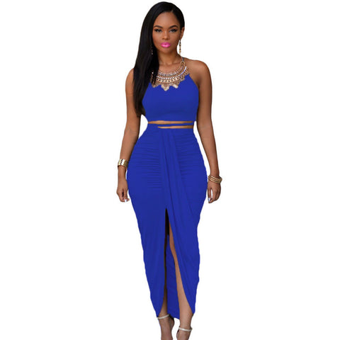 Blue Cotton Two Piece Maxi Skirt Set Sale LAVELIQ