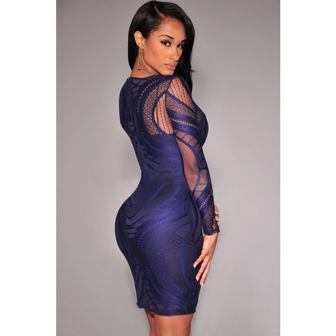 Royal Blue Lace Nude Long Sleeves Bodycon Dress Sale LAVELIQ