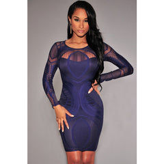 Royal Blue Lace Nude Long Sleeves Bodycon Dress Sale LAVELIQ - LAVELIQ - 3