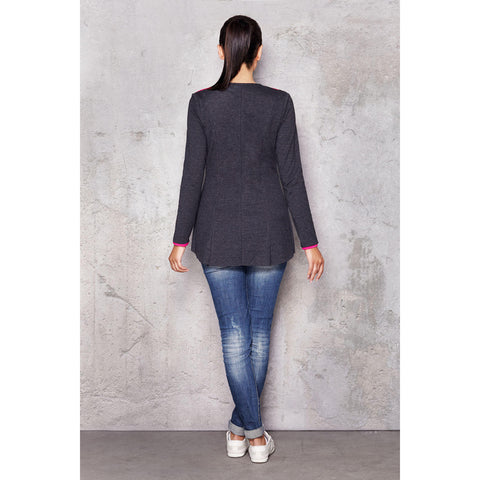 Collar Dark Grey Jacket With Straight Back Edge LAVELIQ