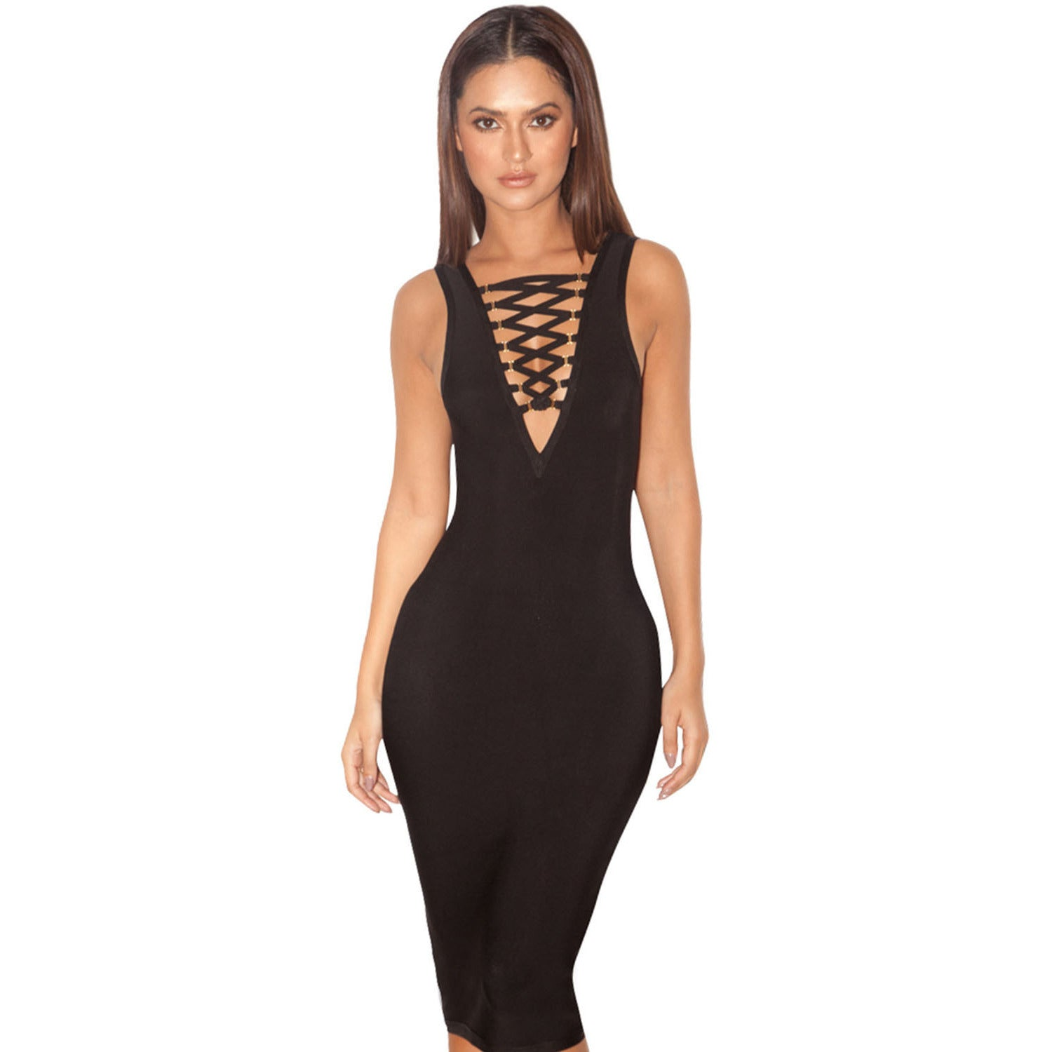 Sexy Deep V Neck Lace Up Bandage Dress LAVELIQ SALE - LAVELIQ - 1