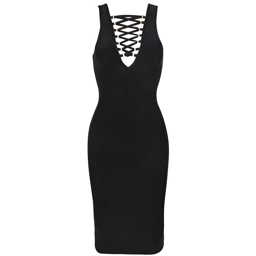 Sexy Deep V Neck Lace Up Bandage Dress LAVELIQ SALE - LAVELIQ - 3