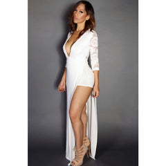 White Sexy Goddess Lace Long Sleeved V Neck Maxi Dress LAVELIQ - LAVELIQ - 1