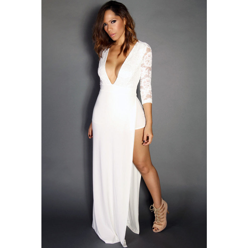 White Sexy Goddess Lace Long Sleeved V Neck Maxi Dress LAVELIQ - LAVELIQ - 2