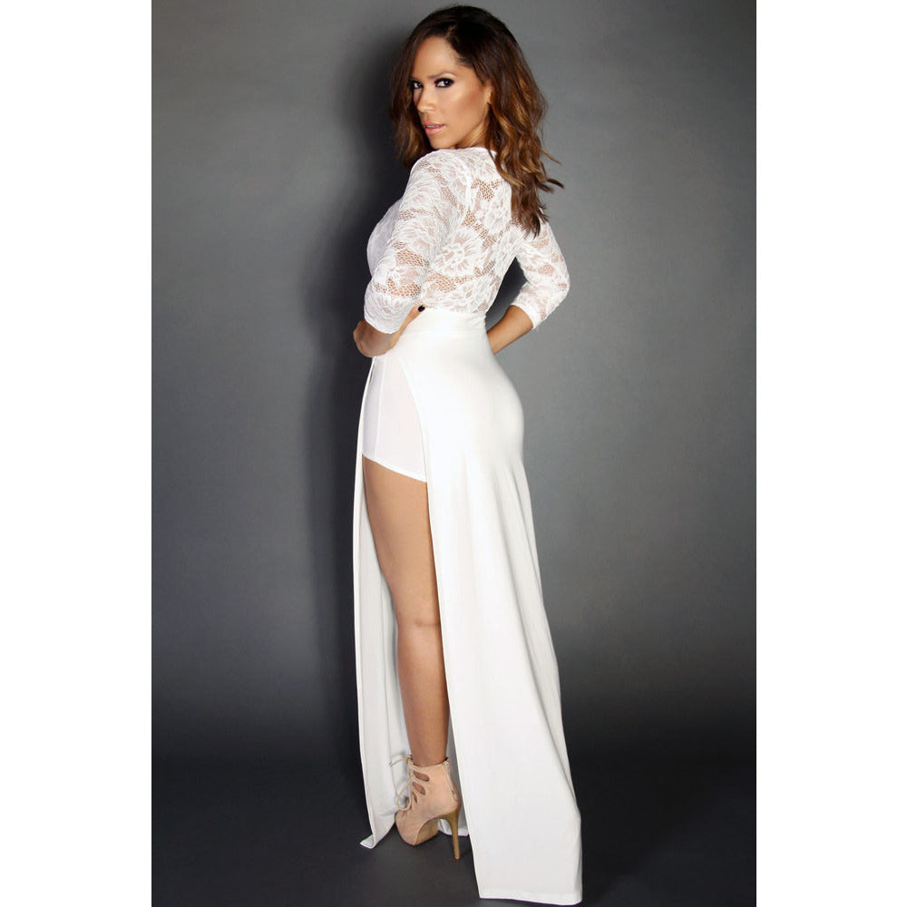 White Sexy Goddess Lace Long Sleeved V Neck Maxi Dress LAVELIQ - LAVELIQ - 3
