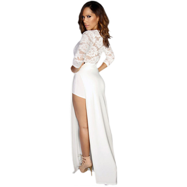 White Sexy Goddess Lace Long Sleeved V Neck Maxi Dress LAVELIQ - LAVELIQ - 4