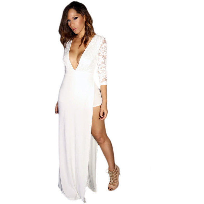 White Sexy Goddess Lace Long Sleeved V Neck Maxi Dress LAVELIQ - LAVELIQ - 5