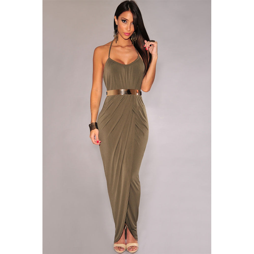Sexy Gold Belted Olive Maxi Dress Sale LAVELIQ - LAVELIQ - 1