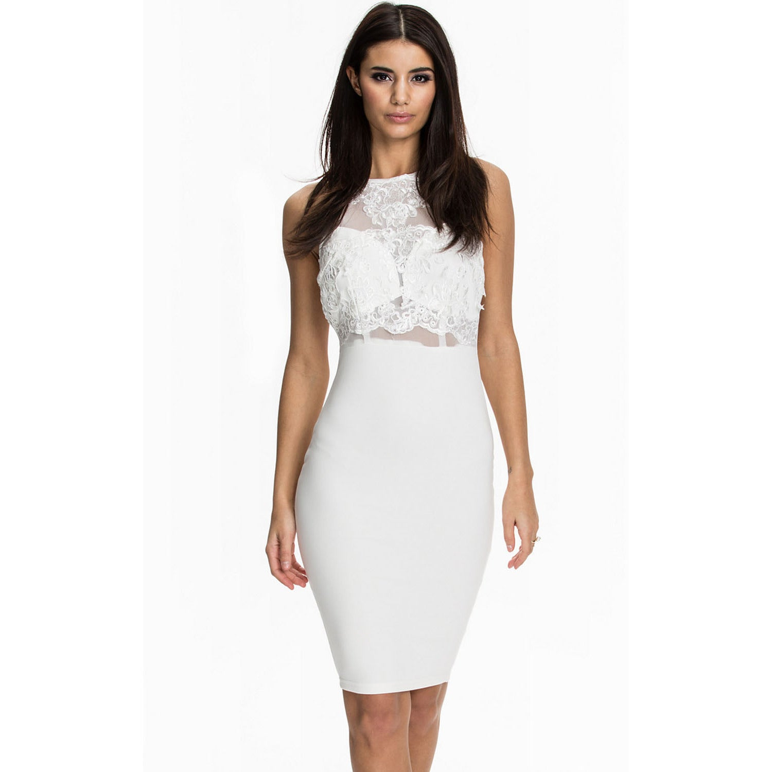 White Top Sleeveless Midi Dress Sale LAVELIQ - LAVELIQ - 1