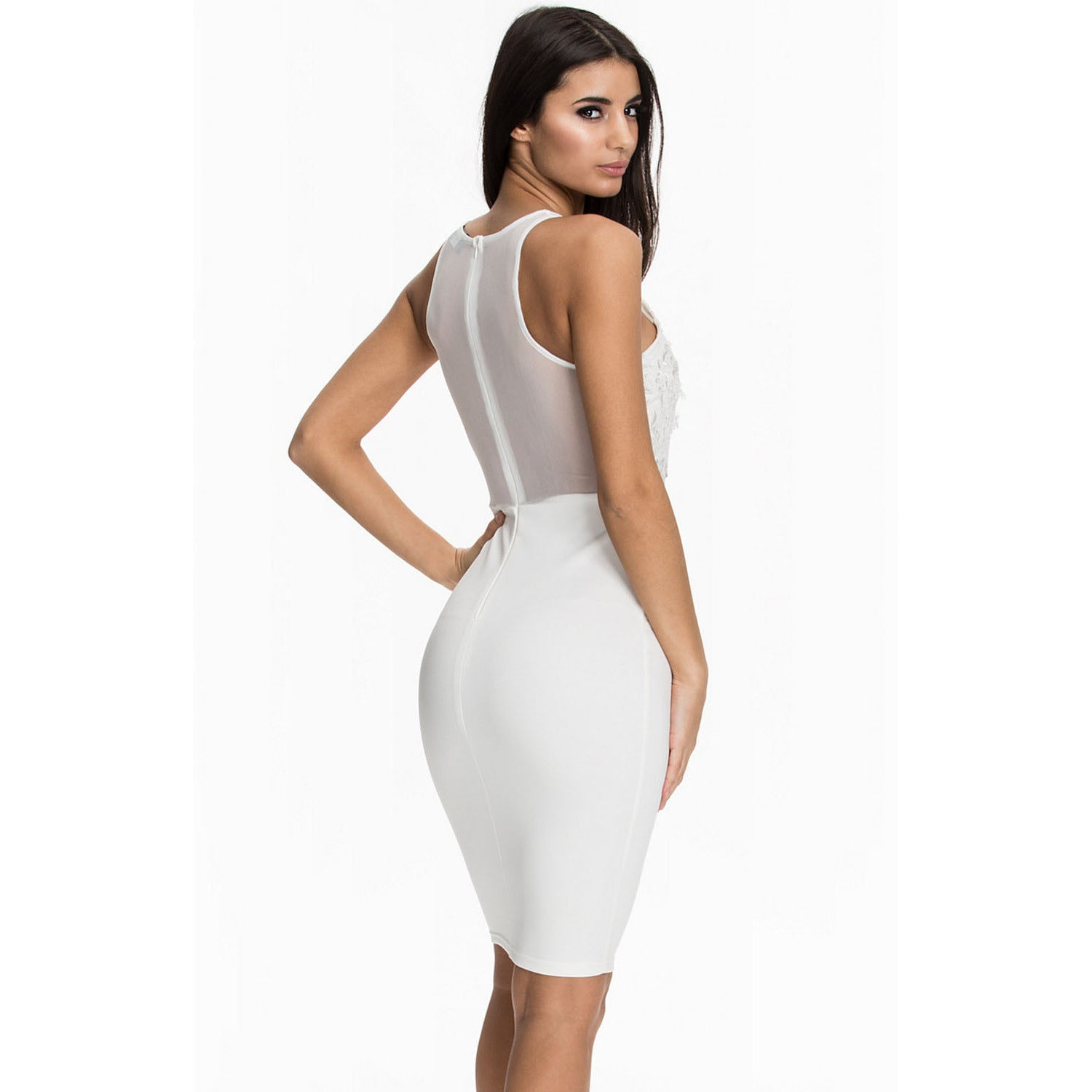 White Top Sleeveless Midi Dress Sale LAVELIQ - LAVELIQ - 2