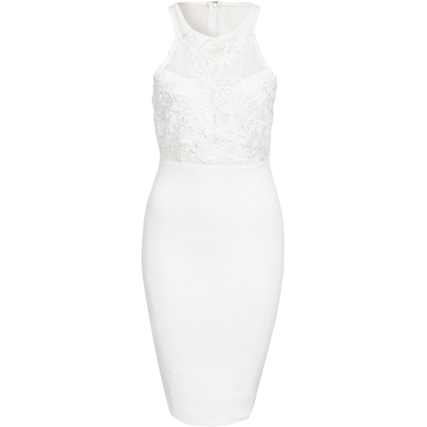 White Top Sleeveless Midi Dress Sale LAVELIQ - LAVELIQ - 3