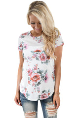 Short Sleeve Round Neck Blossoming Womens T-Shirt LAVELIQ