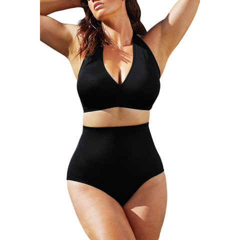 Solid Black High-Waisted Plus Size Bikini Swimsuit LAVELIQ