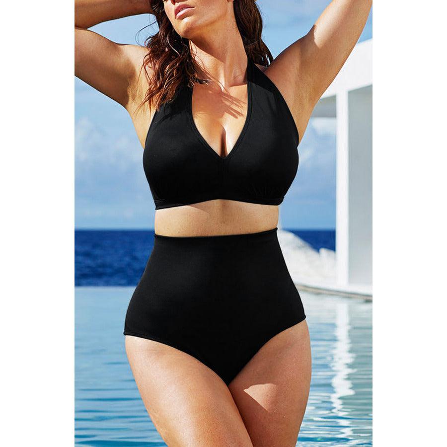 Solid Black High-Waisted Plus Size Bikini Swimsuit LAVELIQ - LAVELIQ - 4