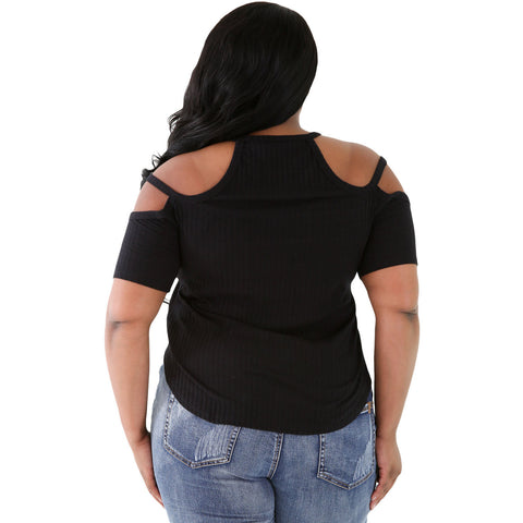 Solid Black Ribbed Stretchy Fit Top Sale LAVELIQ
