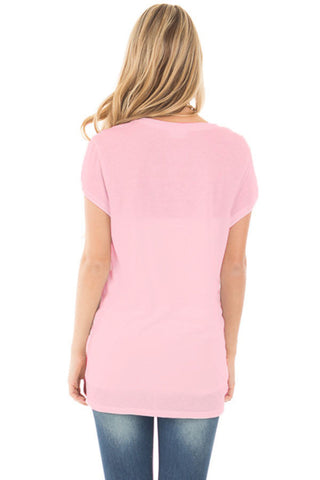 Solid Pink Front Knot Short Sleeves Tee LAVELIQ SALE