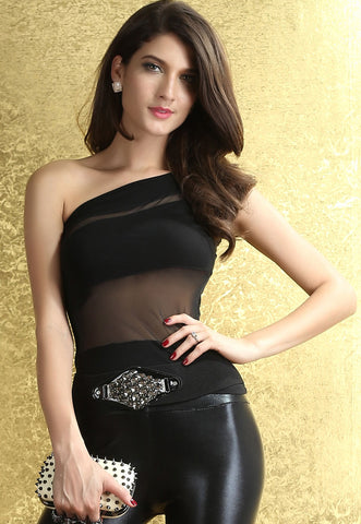 Stifling Stuffless One-Shoulder Top Black LAVELIQ