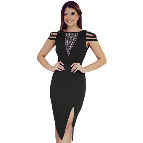 Accent Black Midi Dress LAVELIQ