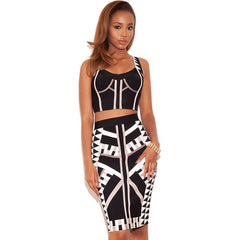 Stylish Two-Piece Geometric Strap Skirt Set LAVELIQ - LAVELIQ - 1