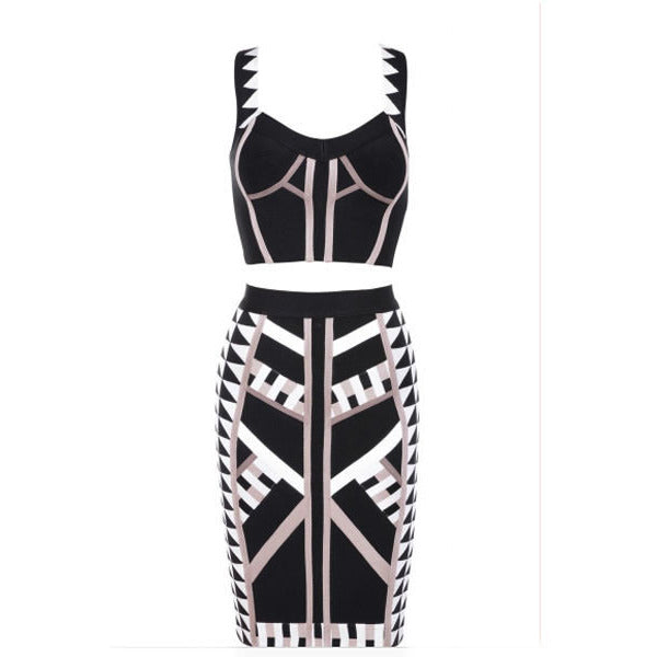 Stylish Two-Piece Geometric Strap Skirt Set LAVELIQ - LAVELIQ - 3