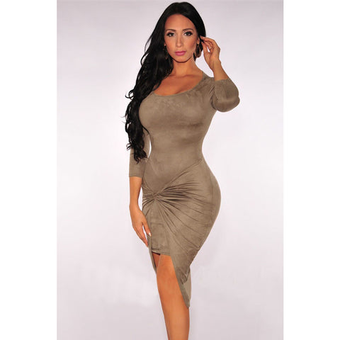 Sexy Suede Knotted Side Midi Dress Sale LAVELIQ