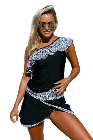 Tribal Geometry Ruffle One Shoulder Tankini Swimsuit LAVELIQ
