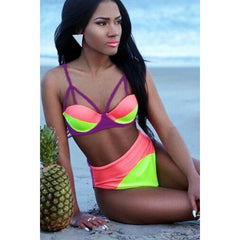 Triple Color High-Waisted Casual Bikini LAVELIQ - LAVELIQ - 1