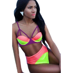 Triple Color High-Waisted Casual Bikini LAVELIQ - LAVELIQ - 4