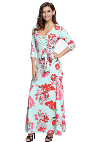 Turquoise Floral Print Wrapped Long Boho Dress LAVELIQ