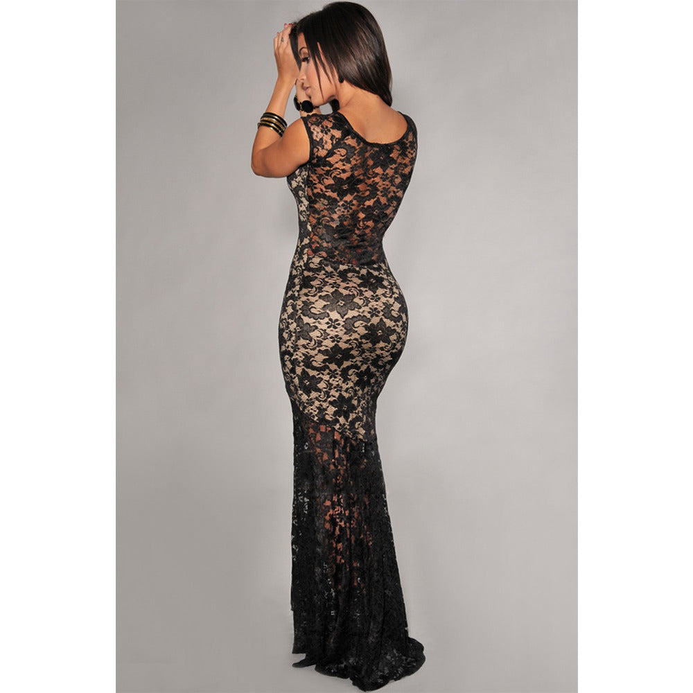 Sexy Lined Long Lace Evening Dress Sale LAVELIQ - LAVELIQ - 2