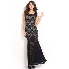 Sexy Lined Long Lace Evening Dress Sale LAVELIQ - LAVELIQ - 5