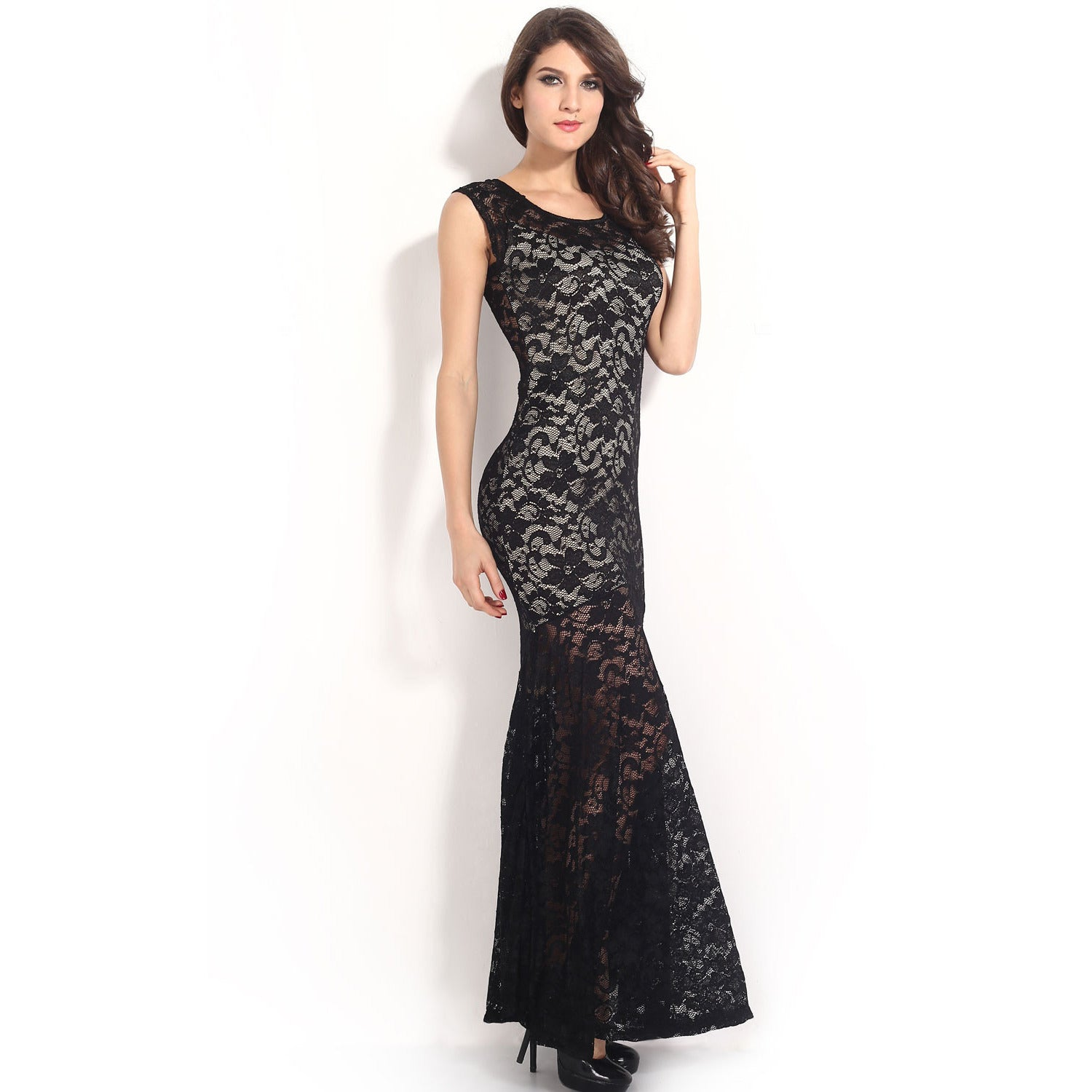 Sexy Lined Long Lace Evening Dress Sale LAVELIQ - LAVELIQ - 7