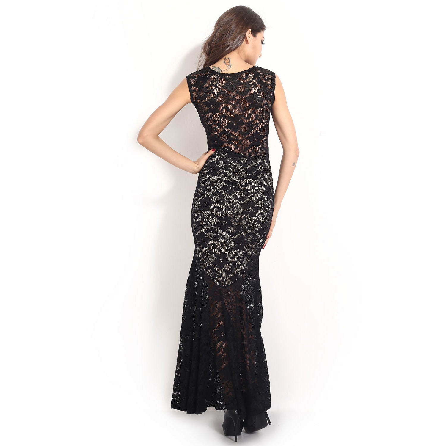 Sexy Lined Long Lace Evening Dress Sale LAVELIQ - LAVELIQ - 8