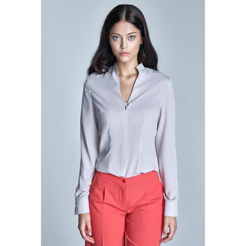 Classic Beige Long Sleeved Stand-Up Collar Shirt LAVELIQ