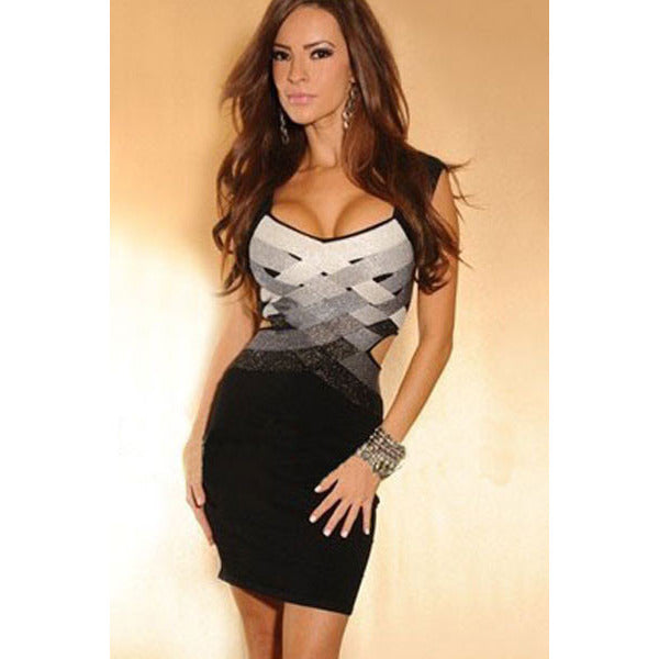 Black Grey Mini Strap Dress  LAVELIQ - LAVELIQ - 1