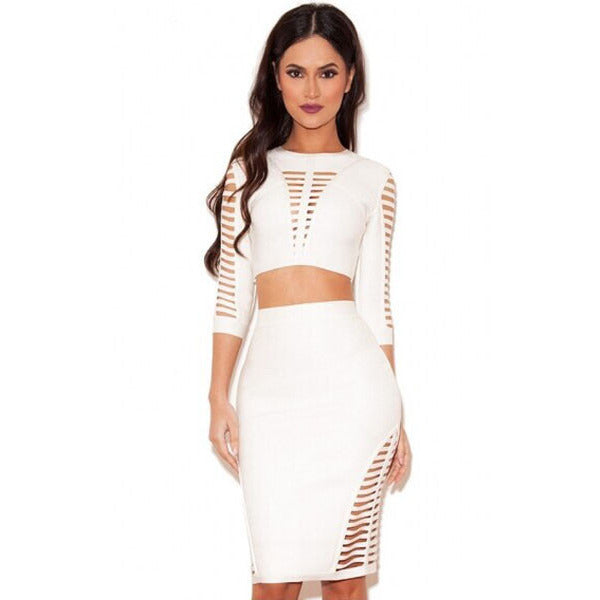 White Strap 2Pcs Skirt Set LAVELIQ - LAVELIQ - 1