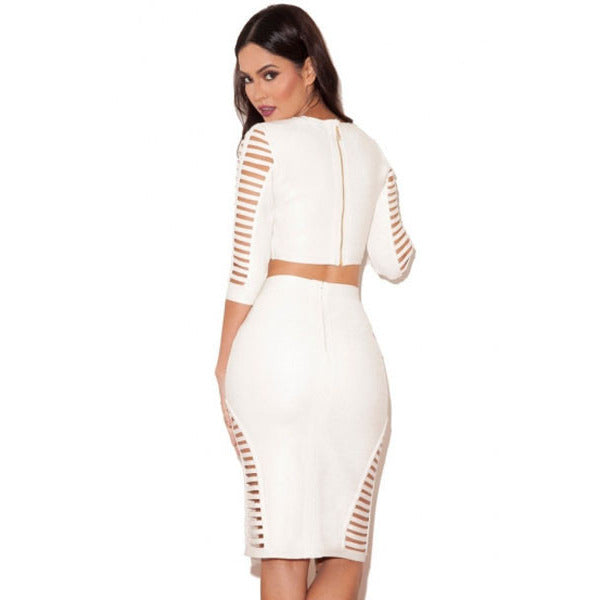 White Strap 2Pcs Skirt Set LAVELIQ - LAVELIQ - 2