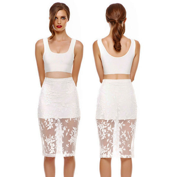 White Strap Lace Crop Skirt Set LAVELIQ - LAVELIQ - 3