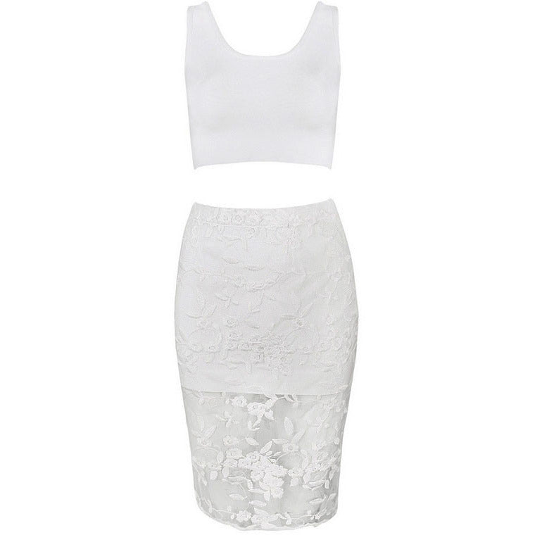White Strap Lace Crop Skirt Set LAVELIQ - LAVELIQ - 4