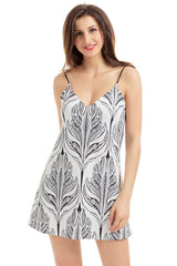 White Black Plant Print Short Dress LAVELIQ