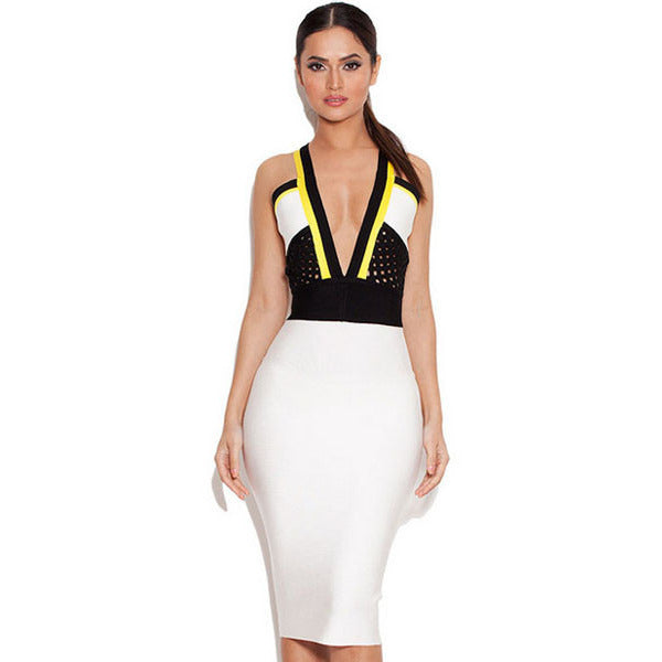White Black Yellow V Strap Midi Dress Sale LAVELIQ - LAVELIQ - 1