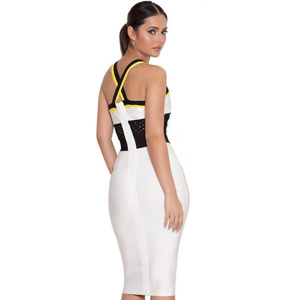 White Black Yellow V Strap Midi Dress Sale LAVELIQ - LAVELIQ - 2