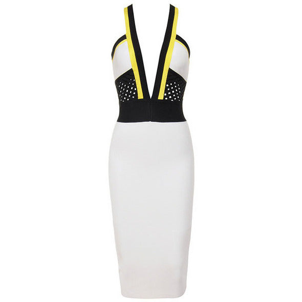 White Black Yellow V Strap Midi Dress Sale LAVELIQ - LAVELIQ - 3