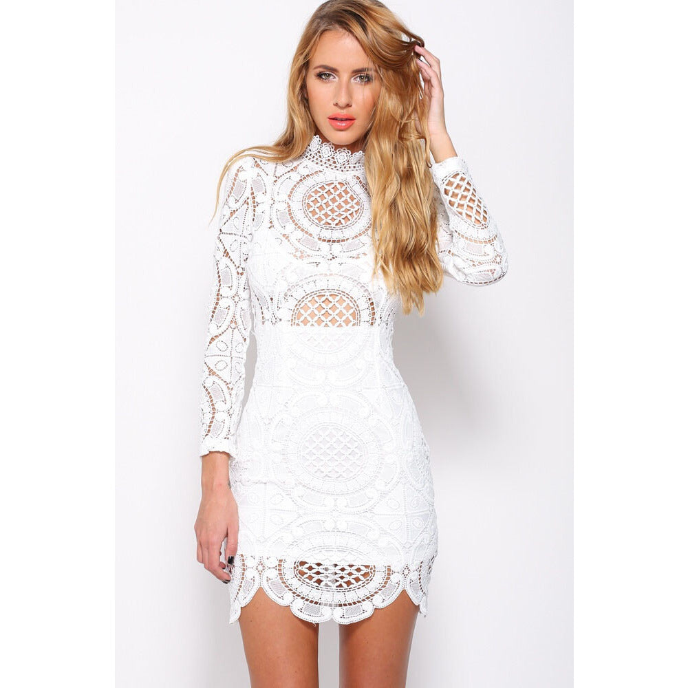 White Lace High Neck Mini Dress LAVELIQ - LAVELIQ - 1