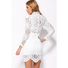 White Lace High Neck Mini Dress LAVELIQ - LAVELIQ - 2